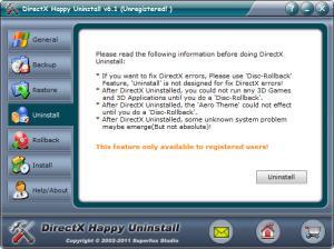 Enlarge DirectX Happy  Uninstall Screenshot