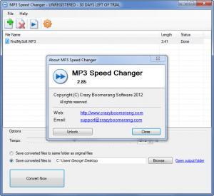 Enlarge MP3 Speed Changer Screenshot