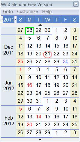 Enlarge WinCalendar Screenshot