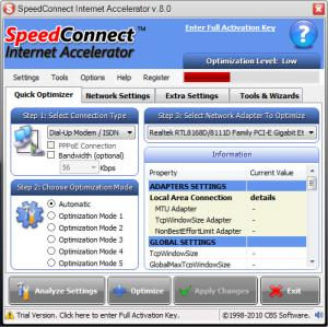 Enlarge SpeedConnect Internet Accelerator Screenshot
