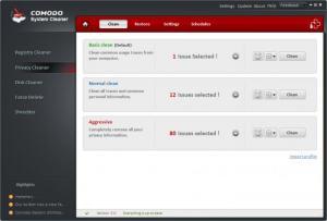 Enlarge Comodo System Cleaner Screenshot