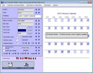 Enlarge Easy Calendar Maker Screenshot