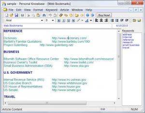 Enlarge Personal Knowbase Screenshot