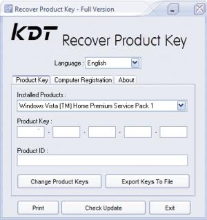 Enlarge KDT Recover Product Key Screenshot