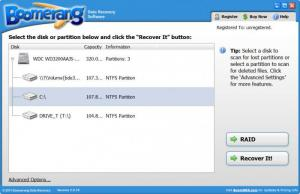 Enlarge Boomerang Data Recovery Software Screenshot