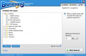 Enlarge Boomerang Data Recovery Software Screenshot