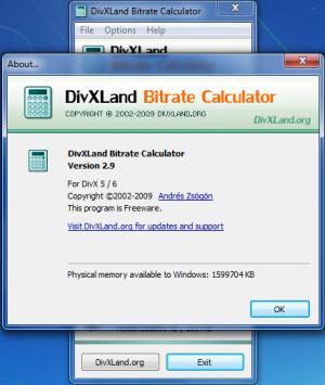 Enlarge DivXLand Bitrate Calculator Screenshot
