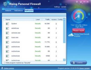 Enlarge Rising Firewall Screenshot