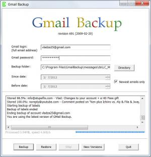 Enlarge GMail Backup Screenshot